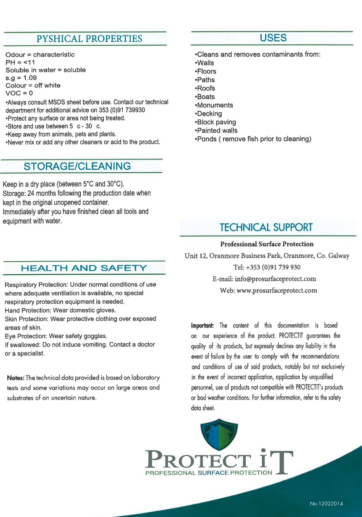 Clean It- Surface Reviver Data sheet 2